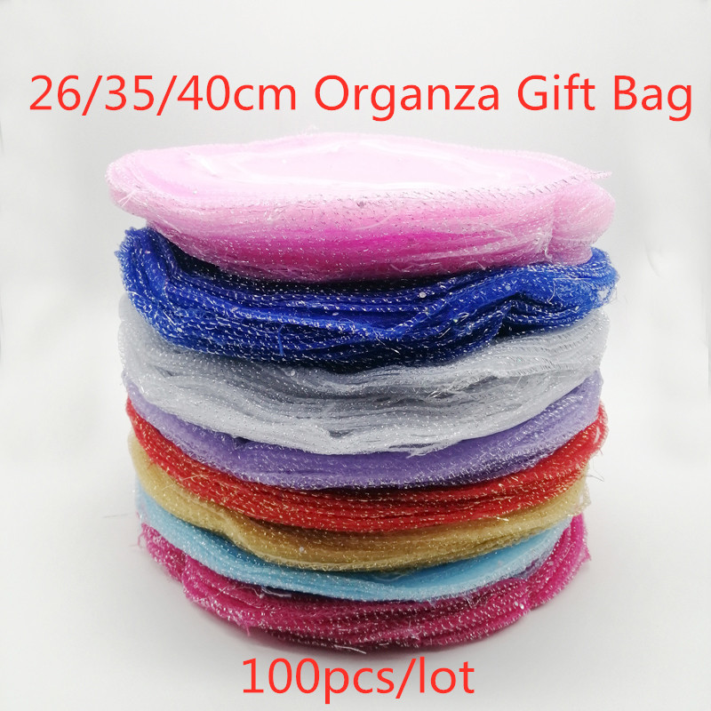 100pcs Multi Round Organza Gift Bags 26-35-40cm Party Bag For Women Wed Drawstring Bag Jewelry Display Bag Pouch Diy Accessories