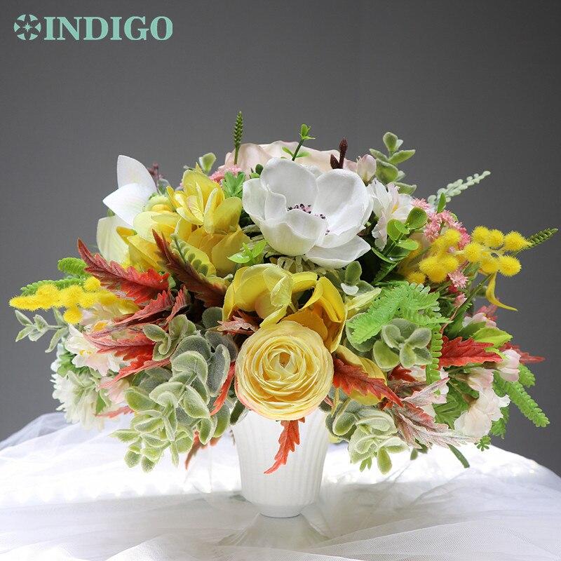 INDIGO conçu cadeau-1 ensemble Rose anémone Cymbidium artificielle Arrangement de fleurs bonsaï Bouquet Table pièce maîtresse livraison gratuite