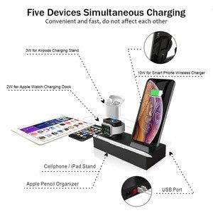 Image 5 - Беспроводное зарядное устройство QI 8 в 1 10 Вт для iPhone XR XS Max Airpods 2019 Apple Watch 4 3, док станция для быстрой зарядки Apple для Samsung