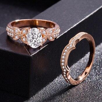 14k Rose Gold Diamond Ring for Women Bague Gift for Mom Wedding Gemstone 14 K Gold and Diamond Engagement Jewelry Ring Bizuteria 1
