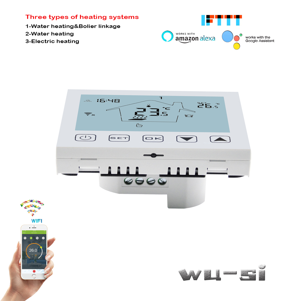 16A Electric Heating WIFI Thermostat, And Google Assistant Connection Control,relay Outputs 3A Water/floor Heating Optional