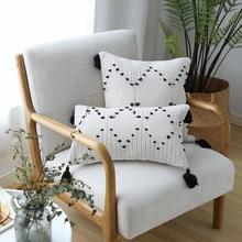 45x4 5cm/30x50cm branco preto geométrico capa de almofada borlas capa de travesseiro tecido para decoração de casa sofá cama