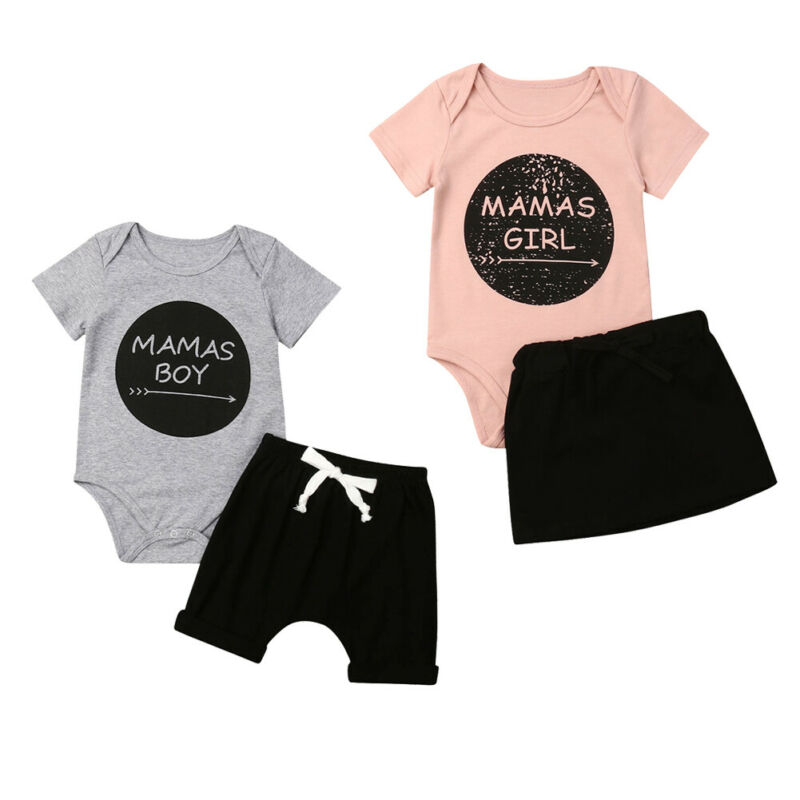 Kids Baby Clothes Set Big/Little Sister Brother Tops Romper Shorts Family Matching Outfit Summer Family Clothes Set 0-3Y