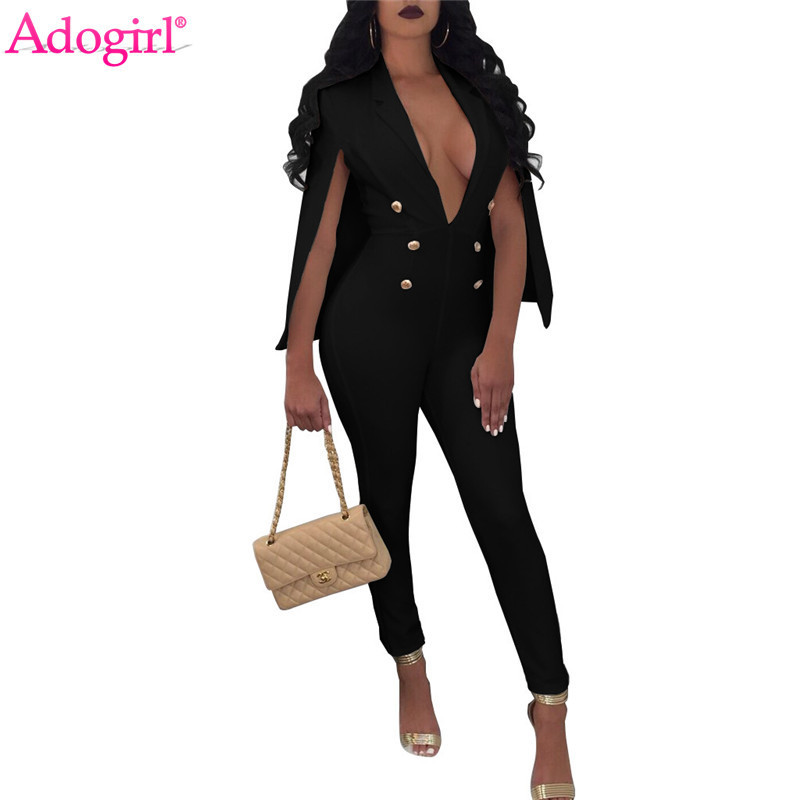 Adogirl Fashion Sexy Solid Cape Jumpsuit Turn Down Collar Deep V Neck Buttons Women Business Romper Office Lady Overalls
