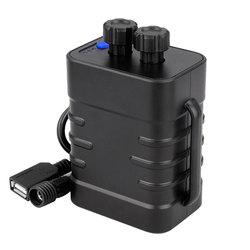 Deemount Dual Voltage Output 8.4V 5V Bicycle Lamp Power Box for 2/4/6 18650/26650 Batteries W/ Strap Optional 100-240V Adaptor