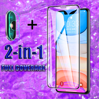 2 in 1 Full Cover Protective Tempered Glass For IPhone 11 7 8 6 6s Plus Screen Protector For IPhone X XR XS 11 Pro Max  Glass|Phone Screen Protectors| |  -