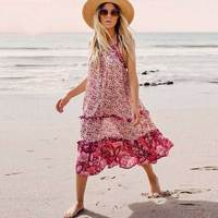 Boho Inspired pink floral sundress strappy midi flowy summer dress frills chic boho dress 2019 casual beach dress gypsy vestidos