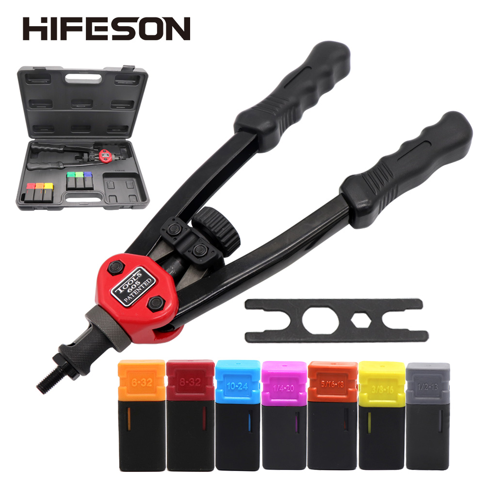 HIFESON Rivet Nut Guns Auto Riveter Tool BT-606 Riveter Nut Tool Hand Insert Rivet Nut Tool Manual Mandrels 6-32 8-32 BT-605