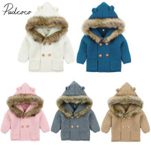Коллекция года, весенне-осенняя одежда для малышей Вязаные наряды с длинными рукавами для новорожденных мальчиков и девочек, теплое зимнее пальто Верхняя одежда с ушками, размеры 02-24 мес