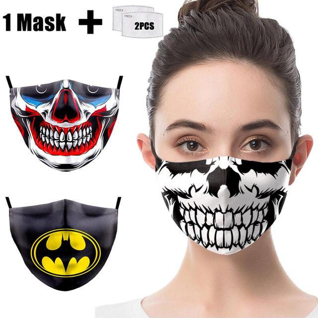 Face Mask Funny Print Grimace Ghost Skeleton Half Face Mask Proof Flu Mouth Mask PM2.5 Filters Dustproof Bacteria Reusable Masks