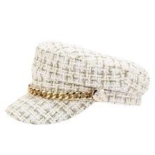 Осень и зима новая женская цепь темно-синяя кепка уличная плоская кепка индивидуальный темперамент теплые модные шапки# Zer