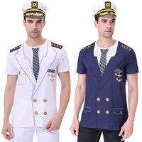 Мужской костюм капитана круиза для взрослых, темно-синяя футболка со шляпой для взрослых, морской карнавал, вечеринка, 3D лодка, футболка Уни...