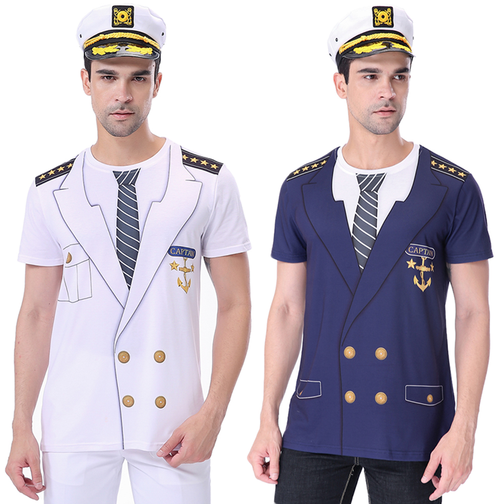 Men Captain Cruise Costume Adult Navy T-Shirt With Hat Adult Marine Carnival Party 3D Boat Tee Uniform Funny Cosplay Top