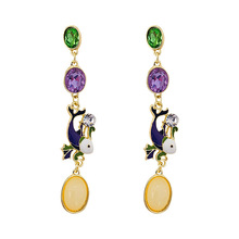 Europe and the United States retro Baroque color glaze long crystal earrings court wind sea carp exaggerated