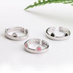 Anel de orelha de gato anel de dedo aberto design bonito moda anel de jóias para as mulheres jovem criança presente anel ajustável atacado