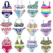 New 2021 Children's Swimwear Two Piece Flamingo Swimsuit For Girls 2021 Summer Bikini Sets Kids Swimsuit Lovely Swimwear G1-K337