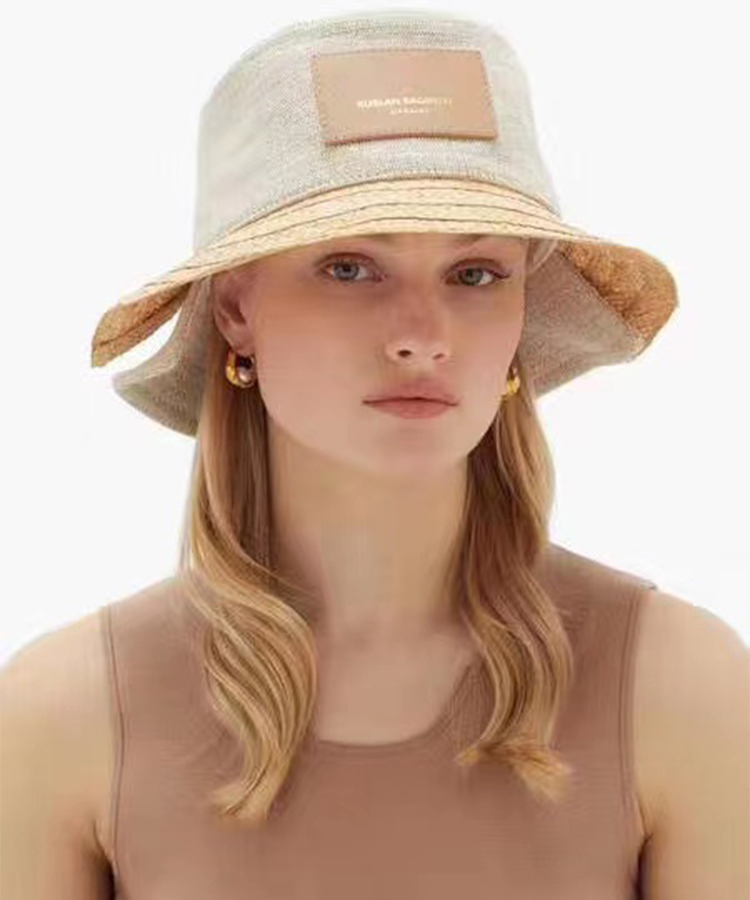 2021 New Cotton Linen Patchwork Straw Bucket Hats for Women Men Summer Letter Breathabl Sun Hats