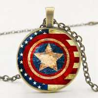 Marvel Heroes Captain America Shield Retro Time Pendant Necklace Fashion Sweater Chain Trend Fashion Pendant Family Photo