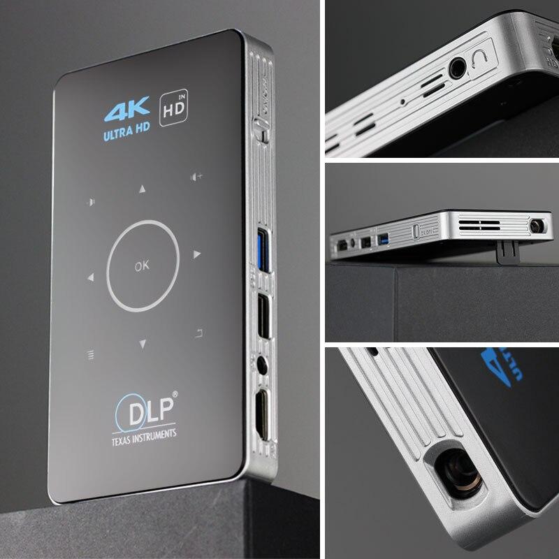 Alston c6 mini 4k dlp android 9.0 projetor wifi bluetooth 4.0 portátil ao ar livre filme de vídeo cinema em casa apoio miracast airplay-1