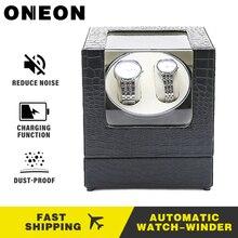 ONEON автоматическая двойная намотка часов Элегантная с автоматическим заводом Механическая коробка для наручных часов тихий мотор 2 часы вращение хранения Дисплей Чехол