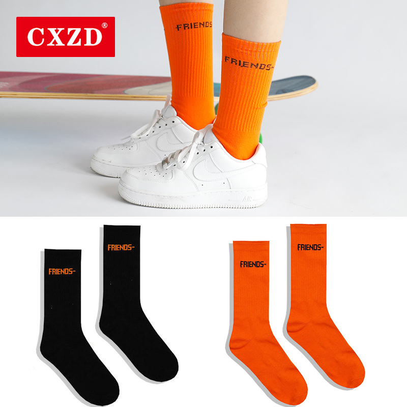 CXZD Black Orange Socks Women High Street Hip Hop Skateboard Fashion Friends Letter Tube Socks Printing Cotton Men Socks