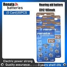 30 baterias pr41 a312 do ar do zinco de renata 100% v 1.45 mah do bloco 165 dos pces/5 para a pilha da moeda do botão das baterias do aparelho auditivo