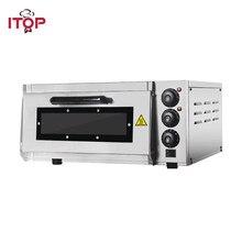 Itop forno de pizza 2kw comercial elétrico forno de pizza única camada profissional forno de cozimento elétrico bolo/pão/pizza com temporizador