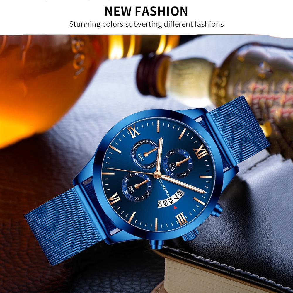 CUENA Men Watches Relogio Masculino Men's Business Steel Belt WatchThree Eyes Blue Calendar Quartz Wrist Watch 2020 Gift