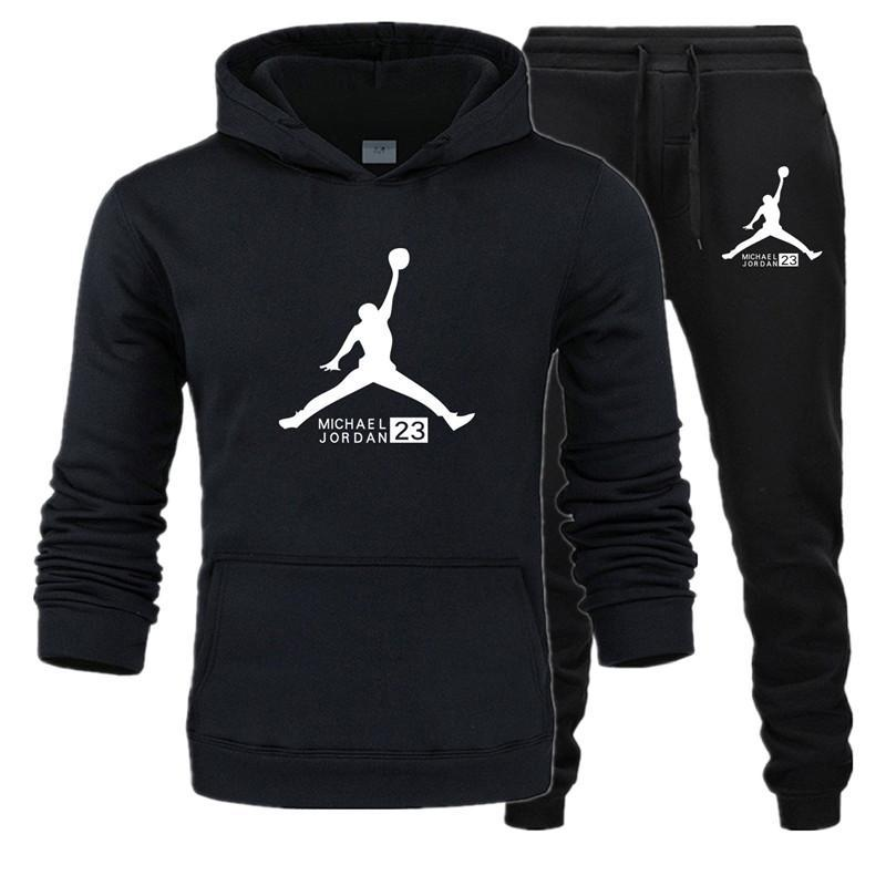 23 JORDAN Autumn Winter Hot Sale Men's Sets Hoodie+pants Two Pieces Sets Casual Tracksuit Male Sportswear Sport Wear For Men Run