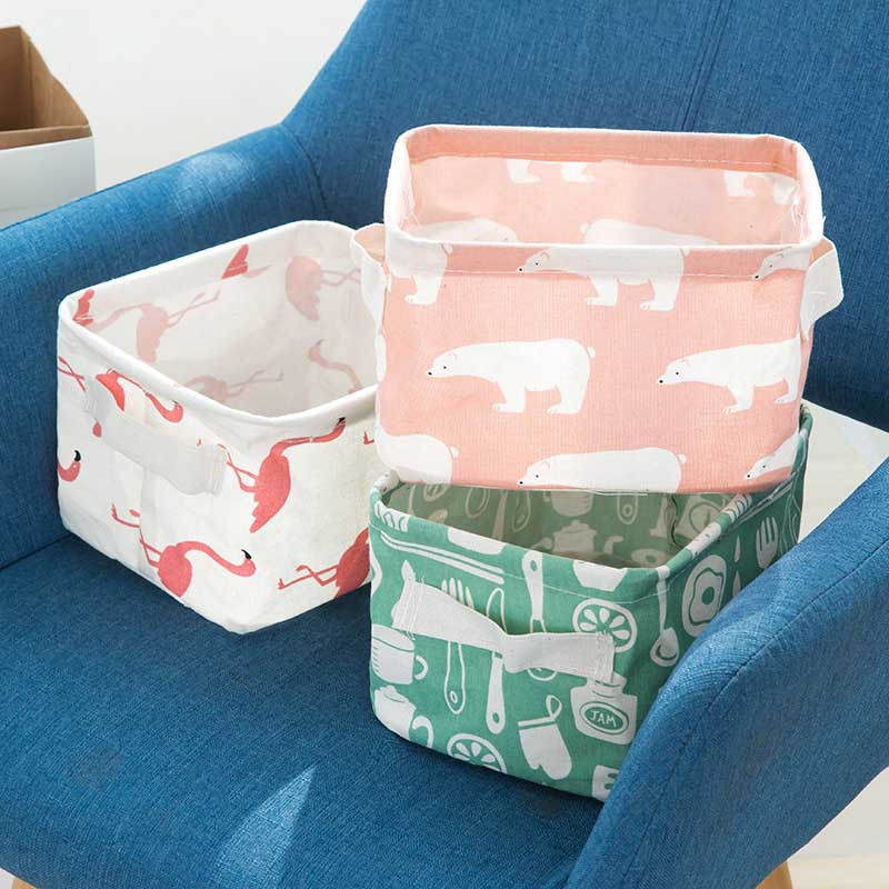 Underwear Storage Bag Multifunction Durable Desktop Storage Basket Cotton Linen Sundries Storage Box Cute Printing 1Pc Folding