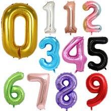 Ballons numériques en aluminium de 16/32/40 pouces, pour figurines d'anniversaire ou décoration d'anniversaire de mariage, boules à hélium à chiffres, fournitures de fête à l'air
