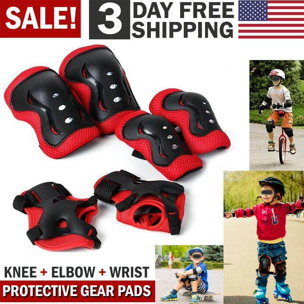 6pcs/set Kids Children Outdoor Sports Protective Gear Wrist Protections Roller Guards Riding Safety Elbow Pads Skating Knee M4G6