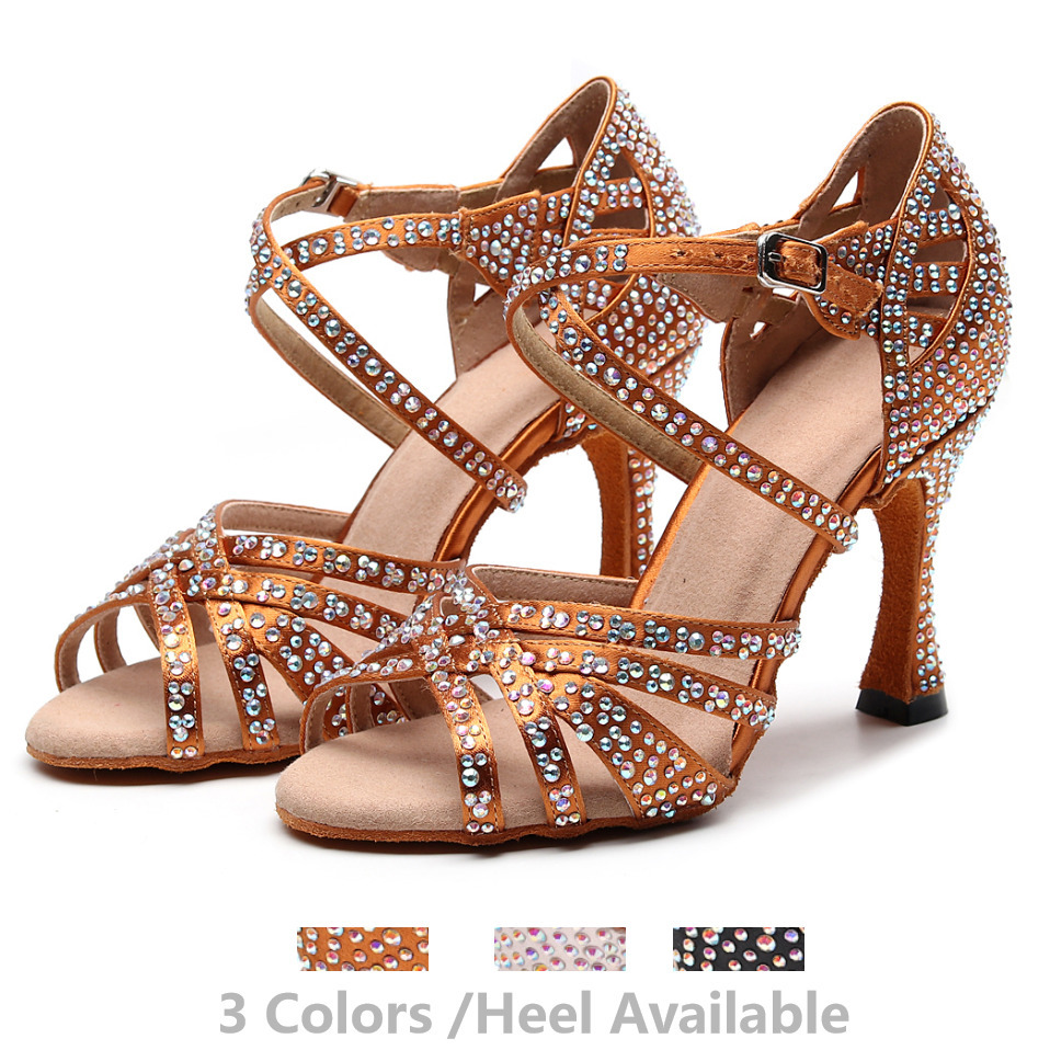 Recreational Jazz Salsa Ballroom Latin Dance Shoes For Dancing Women Professional Cow Outsole High Heels 1046 Summer Sandals