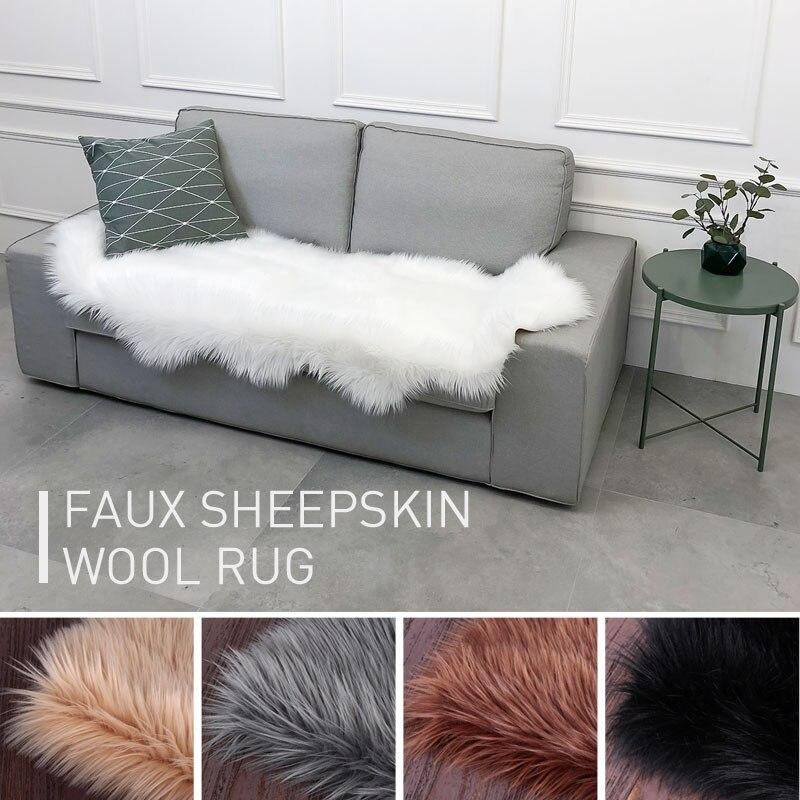Moelleux moelleux tapis 180X110cm chambre forme irrégulière chaud chaise tapis plancher anti-dérapant laine tapis décoration salon tapis