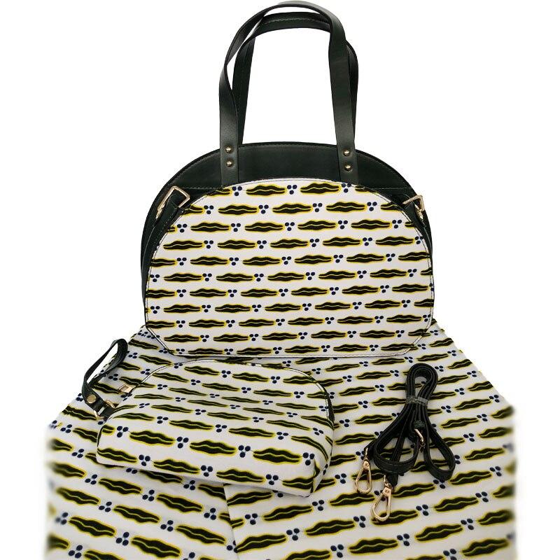 New Arrival Popular Women Wax Handbag And Cotton Fabric Set High Quality African Real Hollandais Wax Fabric With Bag Set Stock