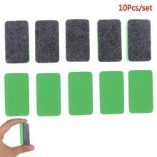 10Pcs Green+Black Mini Felt Cloth Whiteboard Dry Eraser Erase Pen Board Kid Marker School Office Home