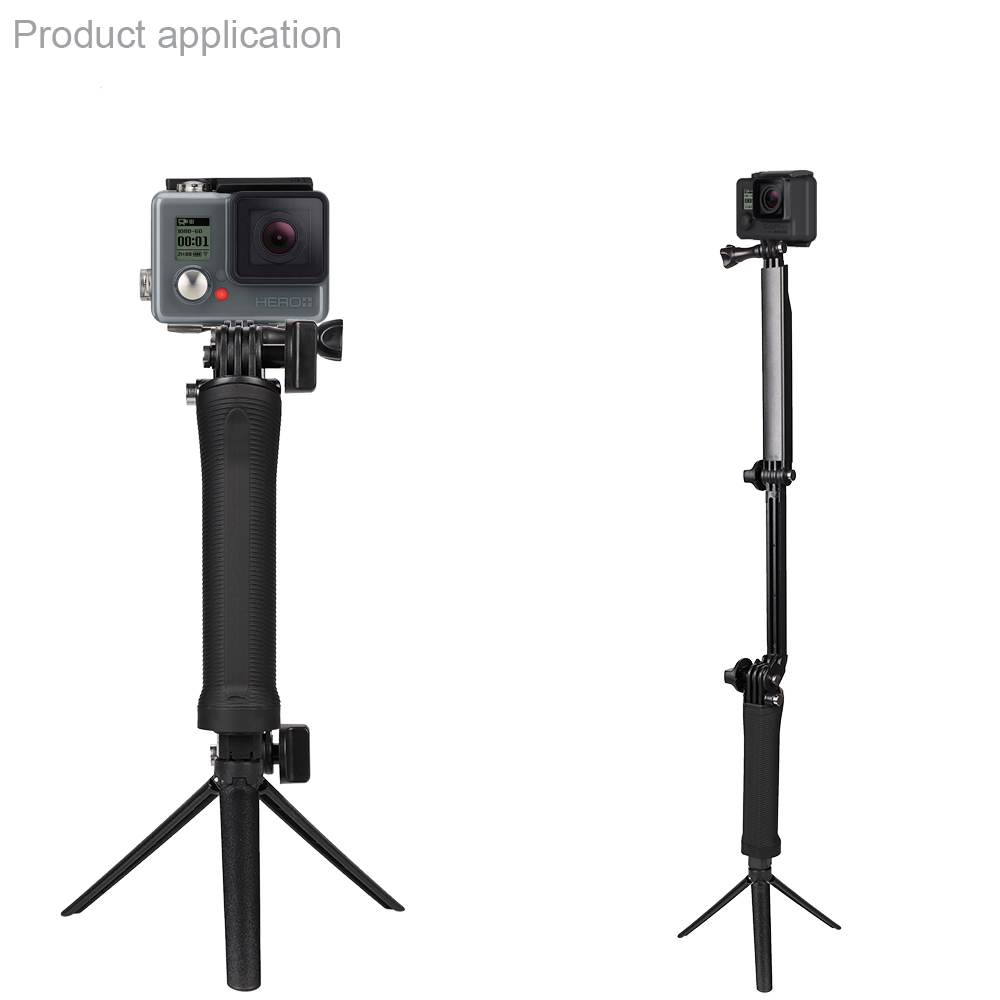 Go pro Accessories 3 Way Hand Grip Tripod Monopod Selfie Stick for Gopro7 6 5 4 3 SJ8Pro Yi 4K DJI OSMO Action Camera H8 H9R in Live Tripods from Consumer Electronics
