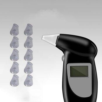 Alcohol breath tester with 11 mouthpieces  breathalyzer analyzer detector test keychain breathalizer breathalyser devicelcd dd