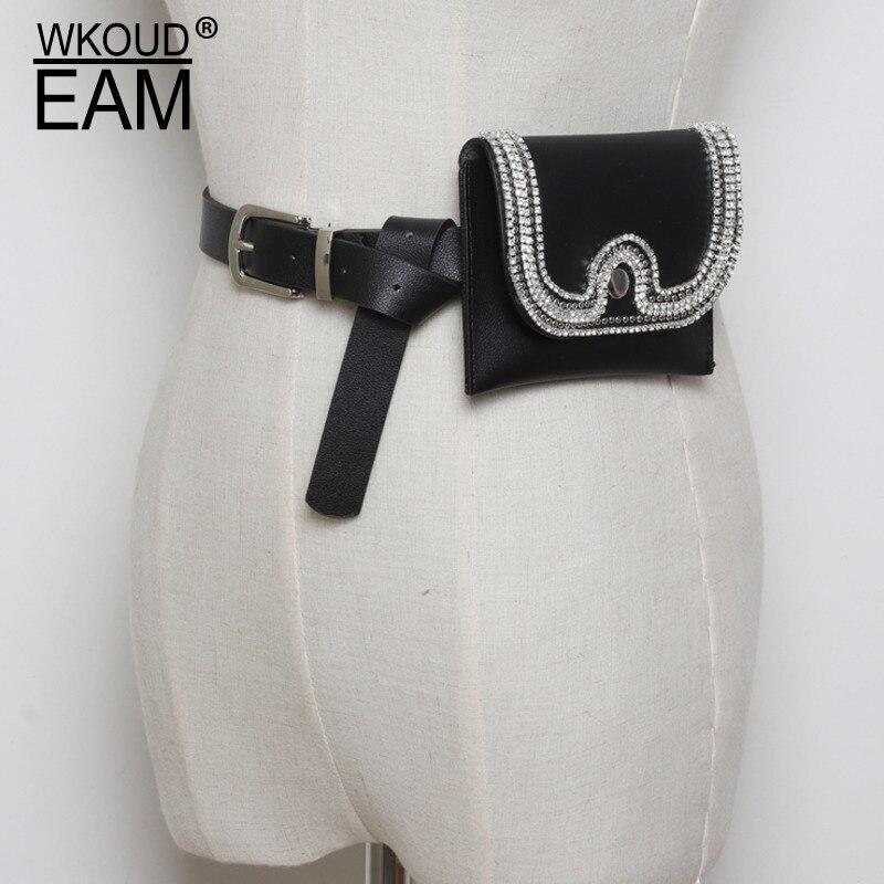 Hot Sale 2020 New Design Waist Bag For Women Solid Black Rhinestone Bag High Fashion PU All-match Belt Bag Female Trendy ZL124