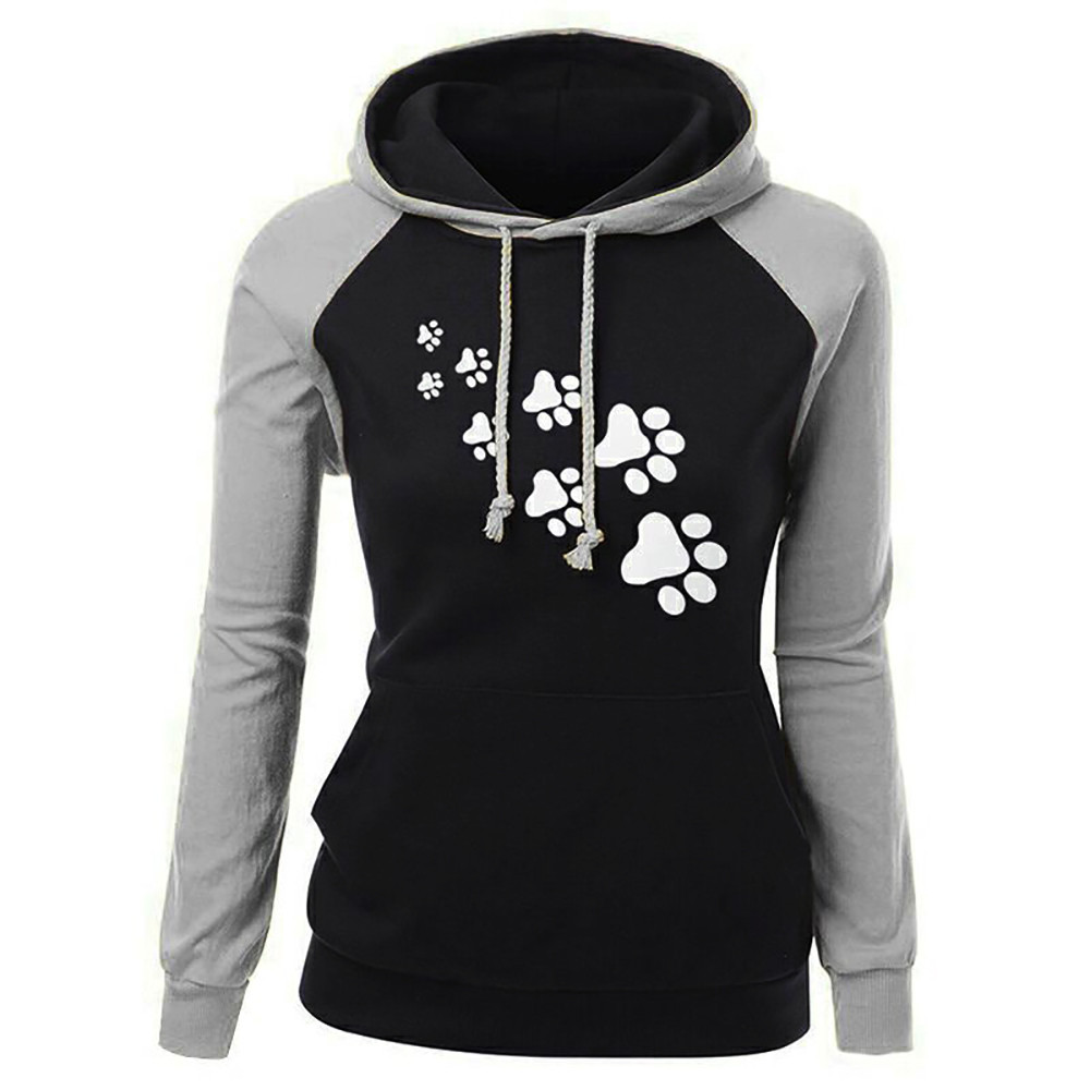Women Fashion Plus Size Long Sleeve Print Pocket Hooded Neck Blouse Tops Cat Claw Pattern Printing Color Matching Hoodie Mulher