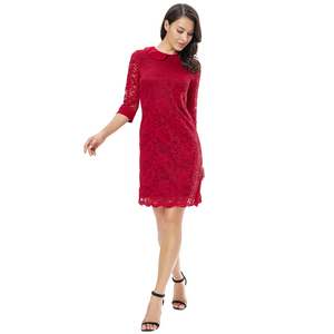 Image 4 - YTL Women Retro Vintage Half Sleeve Dress Elegant Dinner Party Dresses Burgundy Lace Doll Collar Plus Size Dress 6XL 8XL  H263