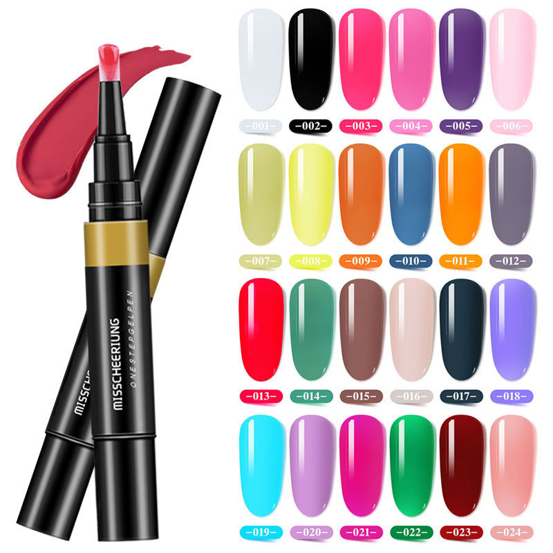 8ml UV Gel Nail Polish 24 Colors Nail Color One Step 3 In 1 Nail Varnish Pen Art Color Gel Matte Top Coat Nail Art Gel