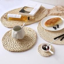Manteles Individuales redondos de ratán, manteles tejidos de paja de maíz Natural para mesa de comedor, portavasos con aislamiento térmico, posavasos, accesorios de cocina