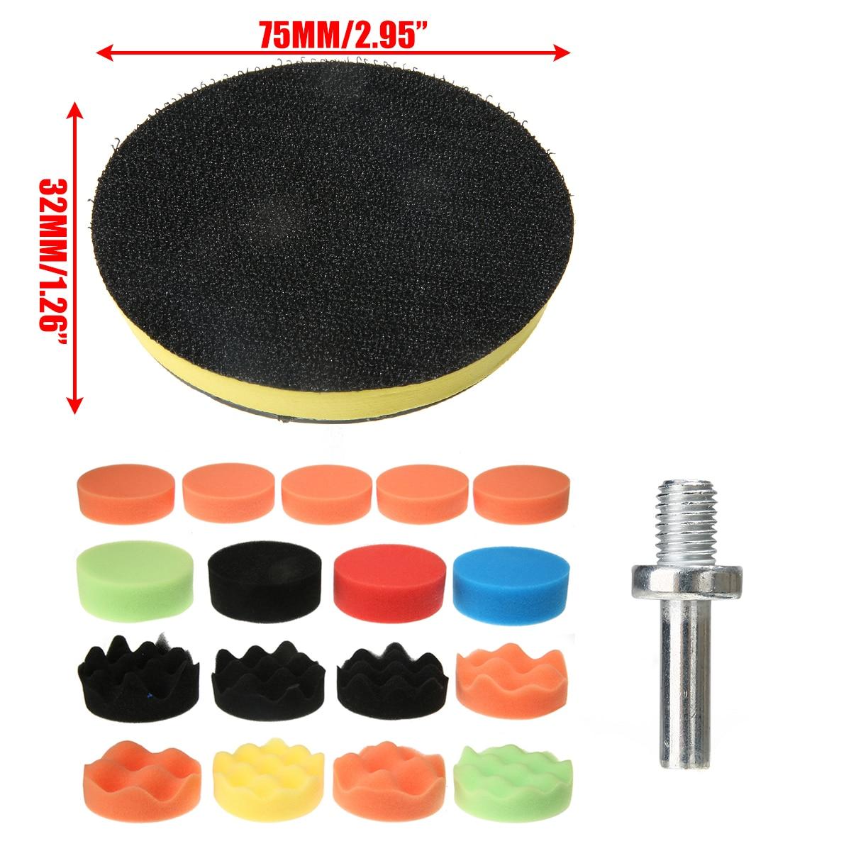 18Pcs 75mm Sponge Car Polishing Waxing Pad Buffing Kit Polishing Attachment Drill Polishing Pad Set For Boat Car Polisher Waxing