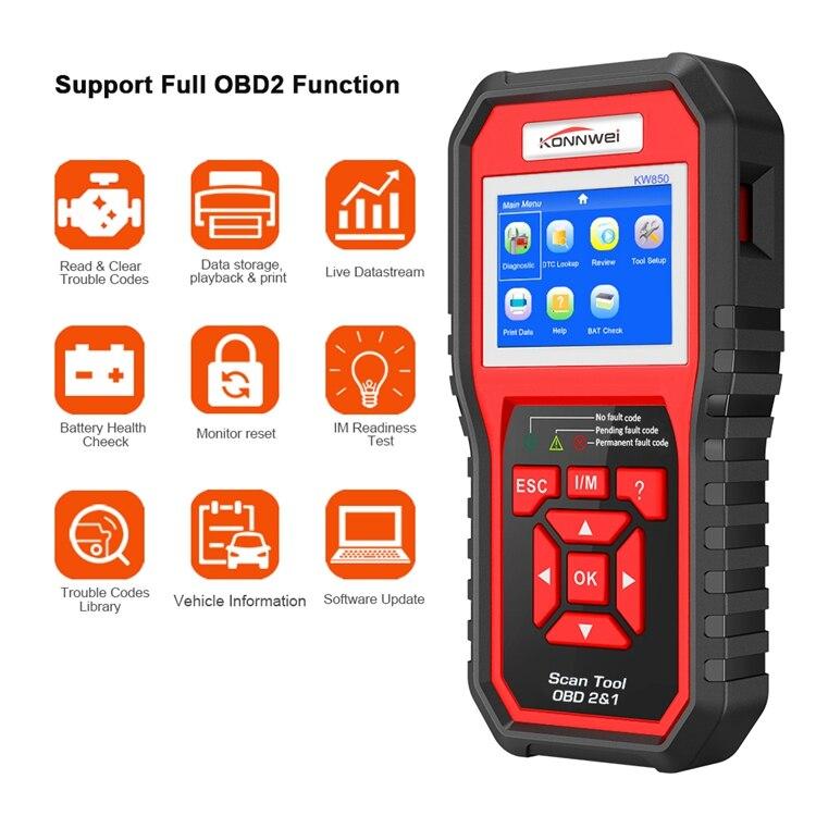Obd2 odb2 scanner de diagnóstico automático konnwei kw850 função completa diagnóstico do carro scanner universal obd motor leitor de código