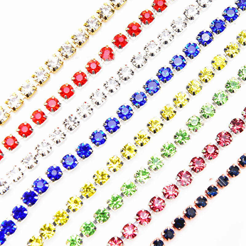 DIY Sewing Trim Crystal Fix <font><b>Rhinestone</b></font> Chain Tape <font><b>Applicator</b></font> Ribbon Iron On Appliques For Craft Sewing Clothes Accessories image