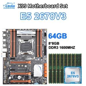 Jingsha X99 комплект материнской платы с Xeon E5 2678 V3 LGA 2011-3 CPU 8*8 ГБ = 64 Гб 1600 МГц DDR3 память ECC REG RAM MATX NVME M.2 SSD