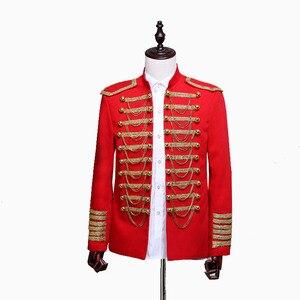 Image 3 - スチームパンク王子衣装軍事タッセルチェーンハロウィンジャケットコート歌手ポップスターブレザースーツ王室ための男性黒