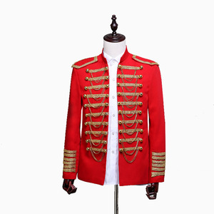 Image 3 - Steampunk Prince Costume Military Tassle Chains Halloween Jacket Coat Singer Pop Stars Blazer Suits Royal Outfit For Men Black