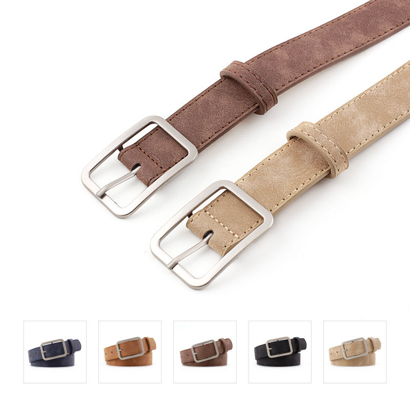 Fashion Square Pin Buckles Belts Women Silver Buckle Leather Belts for Jeans Retro Wild Belts for Women Waistbands Student Strap